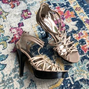 Guess Strappy Nude T-Strap Heels👠